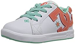DC Court Graffik Elastic Skate Shoe (Toddler), White/Turquoise, 10 M US Toddler