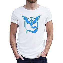 Pokemon Go Pikachu Anime Game Team Blau XXL Uomini T-Shirt