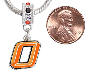 Oklahoma State University Charm with Connector Fits Pandora, Troll, Biagi and More by Final Touch Gifts