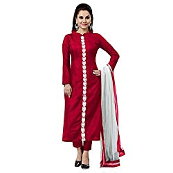 ZHot Fashion Women's Plain and Solid Un-stitched Dress Material In Banglori Silk Fabric (ZHKTN1004) Red
