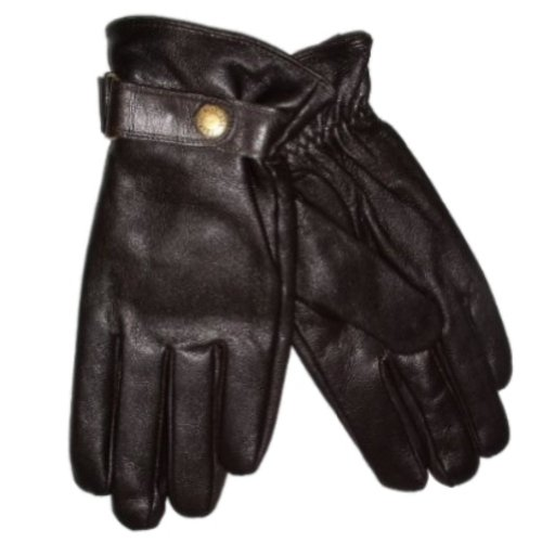 Chaps Mens Brown Leather Gloves  Snap Wrist &