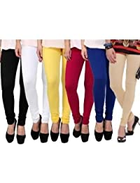 Devaas Women's Black White Blue Yellow Red Beige Color Leggings
