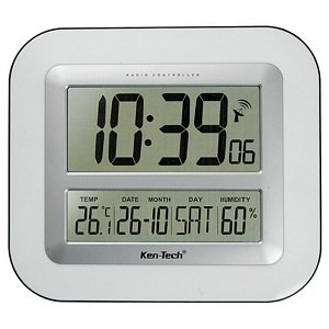 atomic lcd wall clock with temperature date