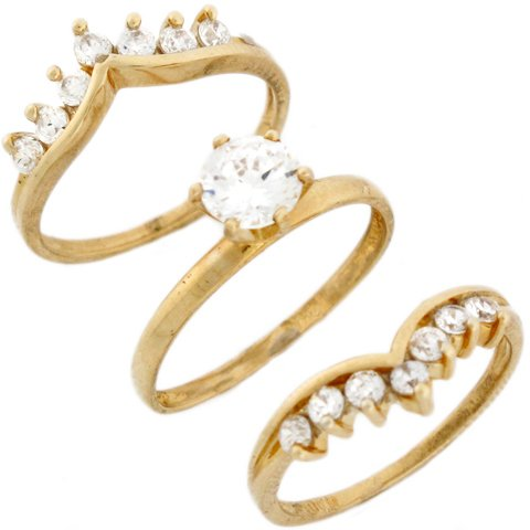 9ct Yellow Real Gold White CZ Princess Triplet Wedding Womens Ring