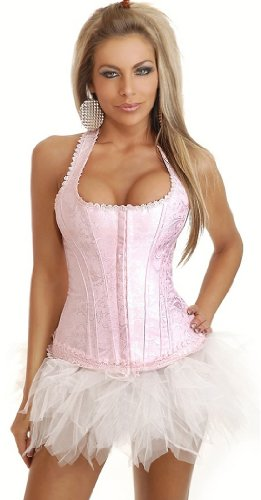 Pink Brocade Full-Back Corset and Pettiskirt