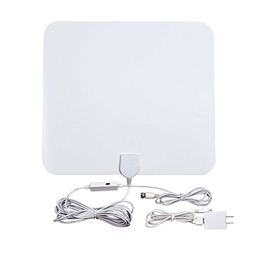 DuaFire 50 Miles Reception Amplified HDTV Antenna,Ultra Thin Indoor HDTV Antenna Built-in Amplifier for UHF/VHF with 16.4ft Coaxial Cable(White) (Indoor Medium Directional Antenna compare prices)
