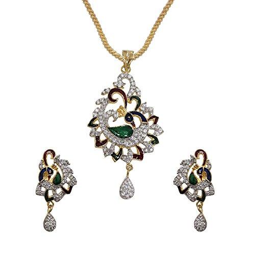 Sheetal Jewellery Red & Green Brass & Alloy Pendant Set For Women