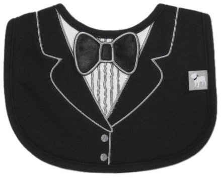 Frenchie Mini Couture Tuxedo Bib with 3D Applique, Black