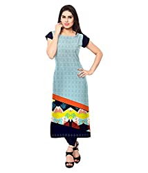 Saiveera Fashion New Arrival Women's Crepe Long Kurtis (VAT154_MultiColoured_Large)