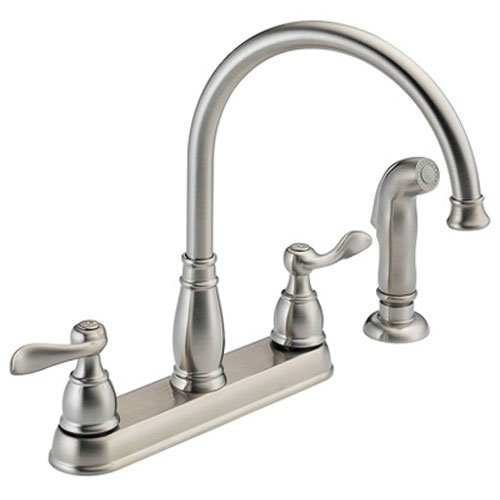 Delta Foundations 21996LF-SS Two Handle Kitchen Faucet with spray, Stainless (Two Hole Kitchen Faucets compare prices)