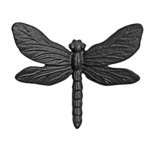 Wall Mountable Black Finish Cast Iron Dragonfly Garden Ornament from Gardens2you