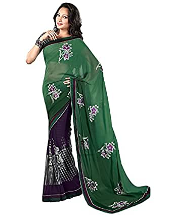 Prafful Georgette Sea Green embroidered beautiful saree with unstitched blouse available at Amazon for Rs.999