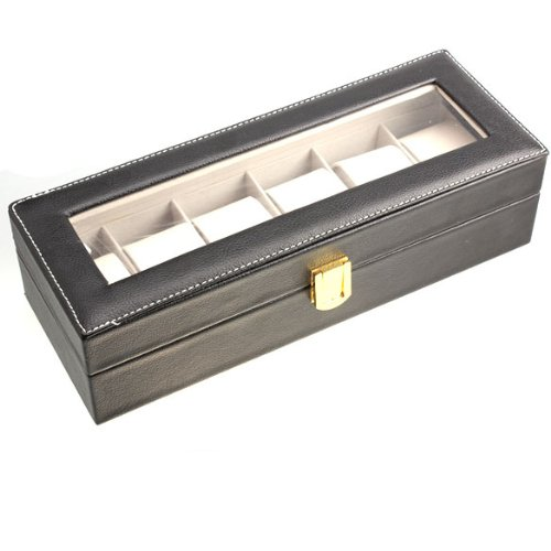 Vakind Black PU 6 Slots Watch Display Box Show Case Jewelry Storage Organizer New