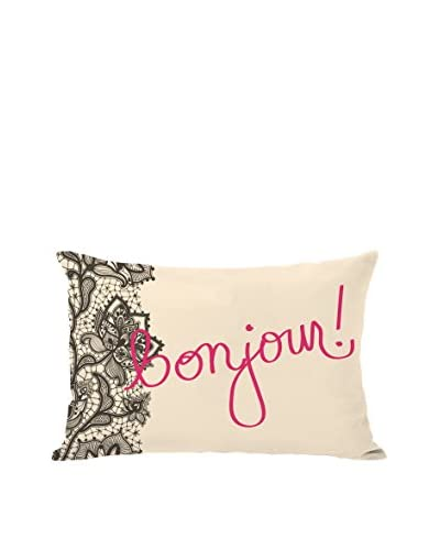 One Bella Casa Bonjour Lace Pillow, Ivory/Hot Pink