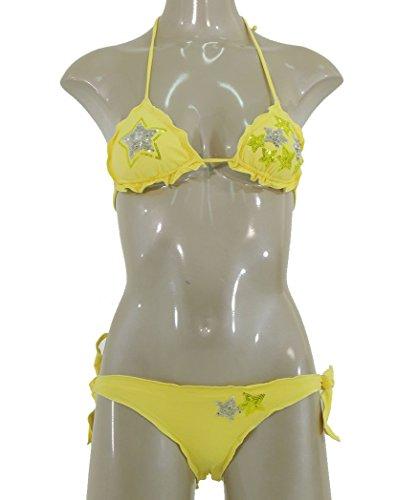 Twin-Set beachwear bikini triangolino con stelle in paillettes S3BBS3N33 (2)