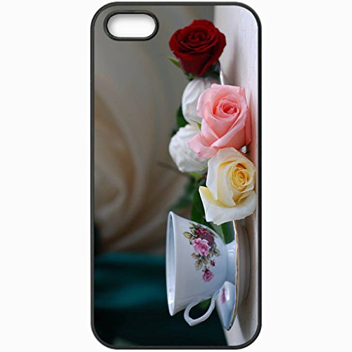 Customized Flowers Back Hardcover Case For Iphone 5/5S - Personalized Unique Design Still Life Rose Tea Holiday Table Black