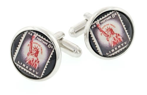 JJ Weston Statue of Liberty stamp image cufflinks with presentation box. Made in the U.S.A