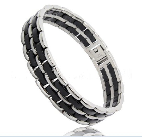Elegant Style Ceramic And Stainless Steel Bracelet + An Energy Card Of 2K Negative Ions (Free Link Removal Tool Included)- 43Br