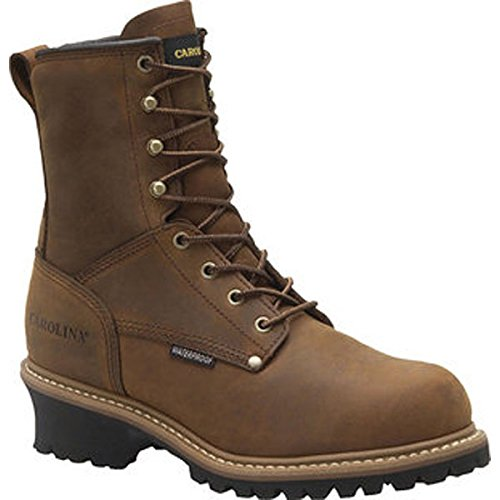Carolina Men'S 8 Inch Waterproof Plain Toe Ins Logger Copper Crazyhorse Leather (10.5 D)