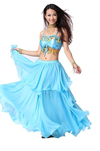 ZLTdream Women's Belly Dance Costume Slingback Coin Bra Top and Spiral Skirt