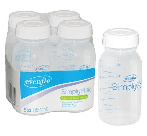 Evenflo (v) Bottles Milk Storage Pack/4 For Comfort Select Breast Pump