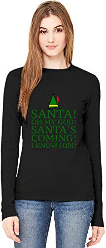 Santa Oh My God Santa's Coming Slogan T-Shirt da Donna a Maniche Lunghe Long-Sleeve T-shirt For Women| 100% Premium Cotton| DTG Printing| XX-Large