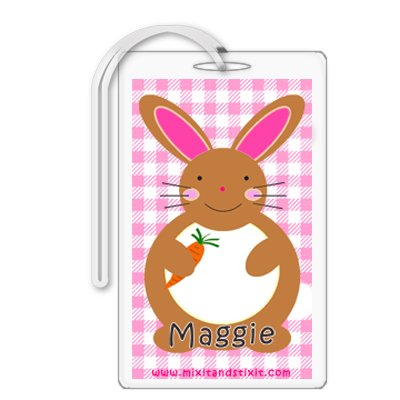 Personalized Baby Girl Pink Gingham Diaper Bag Tag