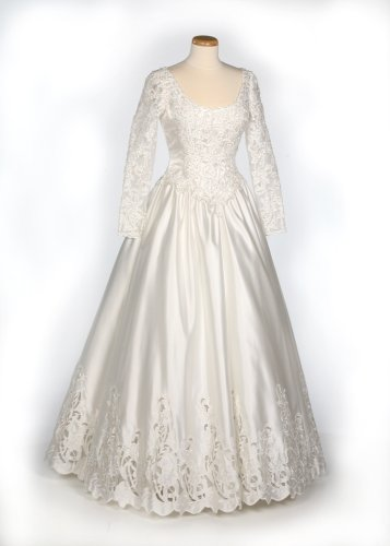 Ivory Satin and Lace Wedding Gown w/ Detachable Train