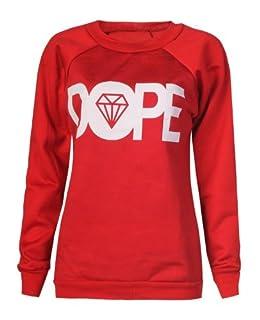Forever Womens Dope Geek Brookleyn Boy Eagle Print Fleece Sweatshirt (ML-10/12, Dope Red)