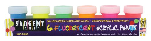 Sargent Art 66-5521 6-Jar Fluorescent Acrylic Set - 1