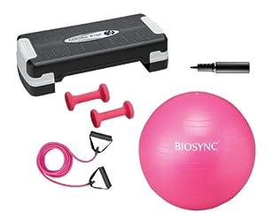 Biosync Fitness-Set mit Aerobic Stepbench Gymnastikball 65cm mit Pumpe, Expanderset und 1 kg Hantel-Set