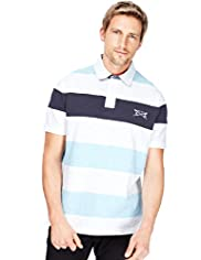 "2"" Longer Blue Harbour Pure Cotton Striped Polo Shirt"
