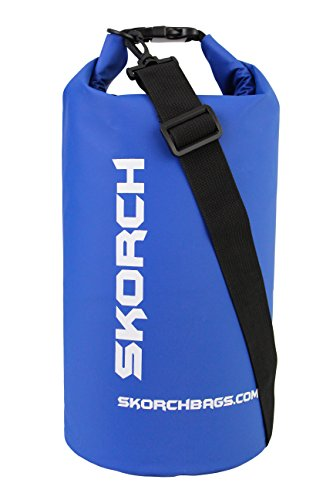 SKORCH Dry Bags - Protect Your Gear From Water and Sand While You Have Fun | Durable Waterproof Bag with Single Black Adjustable Strap. Size: 8x16 Inches (10 Liter) Dry Sack (Blue with White)