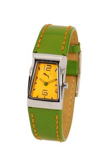 Puma Inspiration Ladies Green Leather Strap And Yellow Dial Watch
