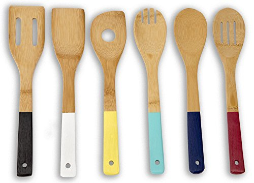 Home Basics Set of 6 Bamboo Wooden Spoons in Mesh Bag