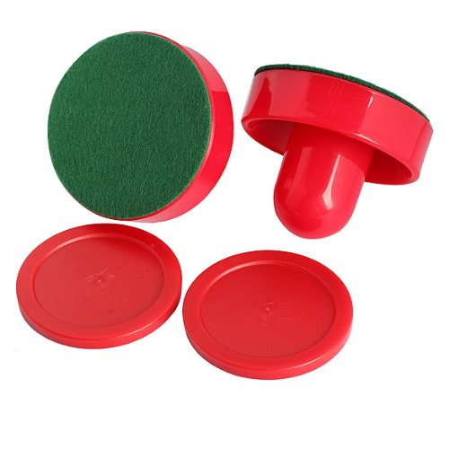 Big Save! Tenflyer New 2Pcs 75mm Air Hockey Table Felt Pusher with 2pcs 63mm Puck Mallet Goalies