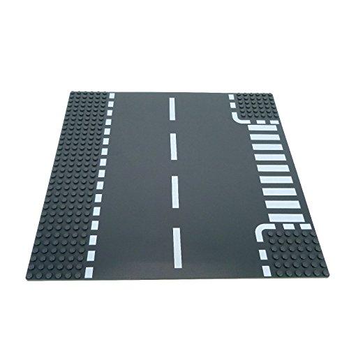 1-x-lego-system-bau-platte-6n-t-kreuzung-dunkel-grau-32-x-32-noppen-strasse-zebrastreifen-fussganger