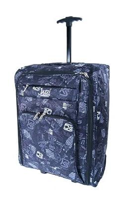 Mens Boys Mans Urban pattern Lightweight Onboard Luggage Cabin Trolley Case Wheeled Hand Luggage Bag (Black)
