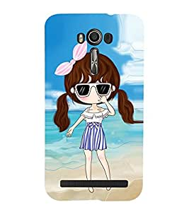 Vizagbeats Animated Girl Beach Background Back Case Cover for ASUS Zenfone 601 KL
