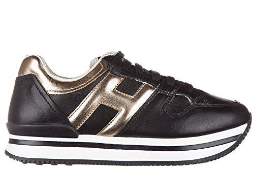 Hogan scarpe sneakers bambina pelle nuove j222 sportivo xl h grande nero EU 34 HXC2220T540VTD415H