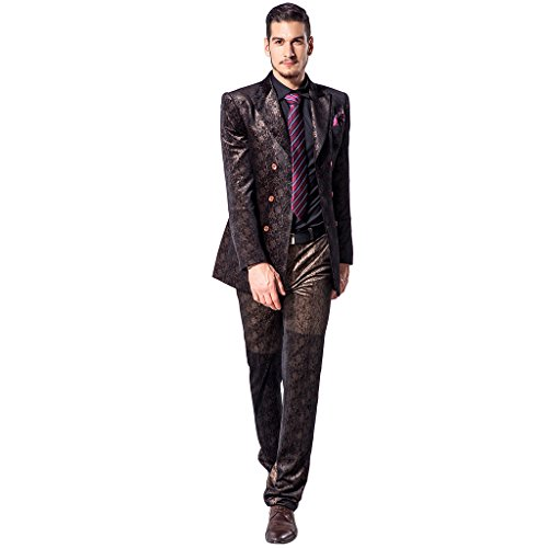 XoMoFlag Men's Vintage China Style Jacquard Wedding Formal Suit L Brown