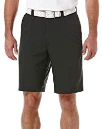 PGA TOUR Men\'s Flat Front Solid Tech Cargo Short With Side Pocket, Caviar, 32