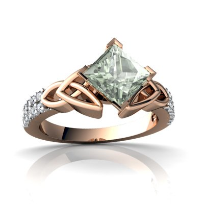 14Kt Rose Gold Green Amethyst And Diamond Square Celtic Knot Ring - Size 7.5