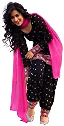OM SAI FASHION GEORGETTE SALWAR SUIT WITH DUPPTA ( PINK SEMI STITCHED)