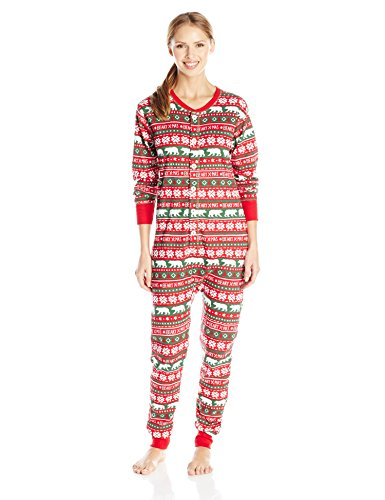 Little Blue House By Hatley Women's LBH Beary X-Mas Adult Union Suits, Multi Color, Medium