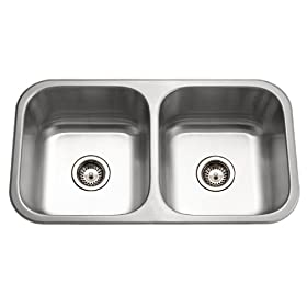 Houzer MD-3109-1 Medallion 31-1/2-by-17-15/16-Inch 50/50 Double Bowl Undermount Stainless Steel Sink