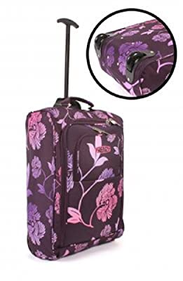 Cabin Approved Suitcase Luggage Travel Holdall Bag Womens Mens & Girls, 21inch, (PLUM FLORAL DESIGN) TELESCOPIC HANDLE, PUSH BUTTON HANDLE MECHANISM, Handle Telescopic , Wheeled Holdall,Due to its lightweight construction and sensible size it makes a perf