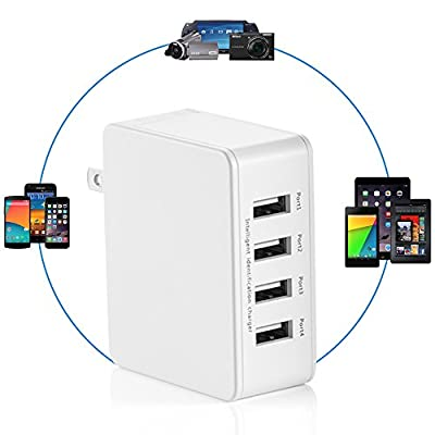 USB Charger 25W 4-Port USB Desktop Wall Charger Charging Station with Folding Plug for iPhone, iPad, Samsung Galaxy, Nexus, HTC, Motorola, LG and More