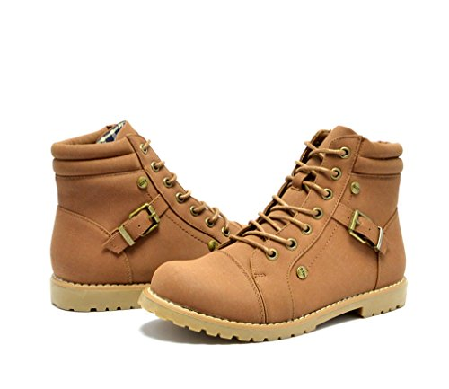 Dream Pairs URVASI-21 Women's Distressed Lace-Up Bootie Boots New Lady