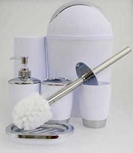 justnile 6 bathroom accessory set trendy plastic white silver